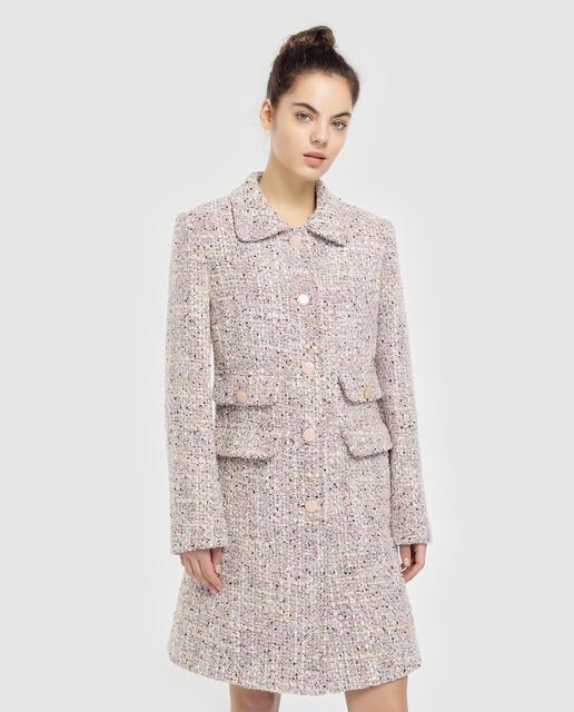 16f1aa2c2 Abrigo tweed de mujer en color rosa