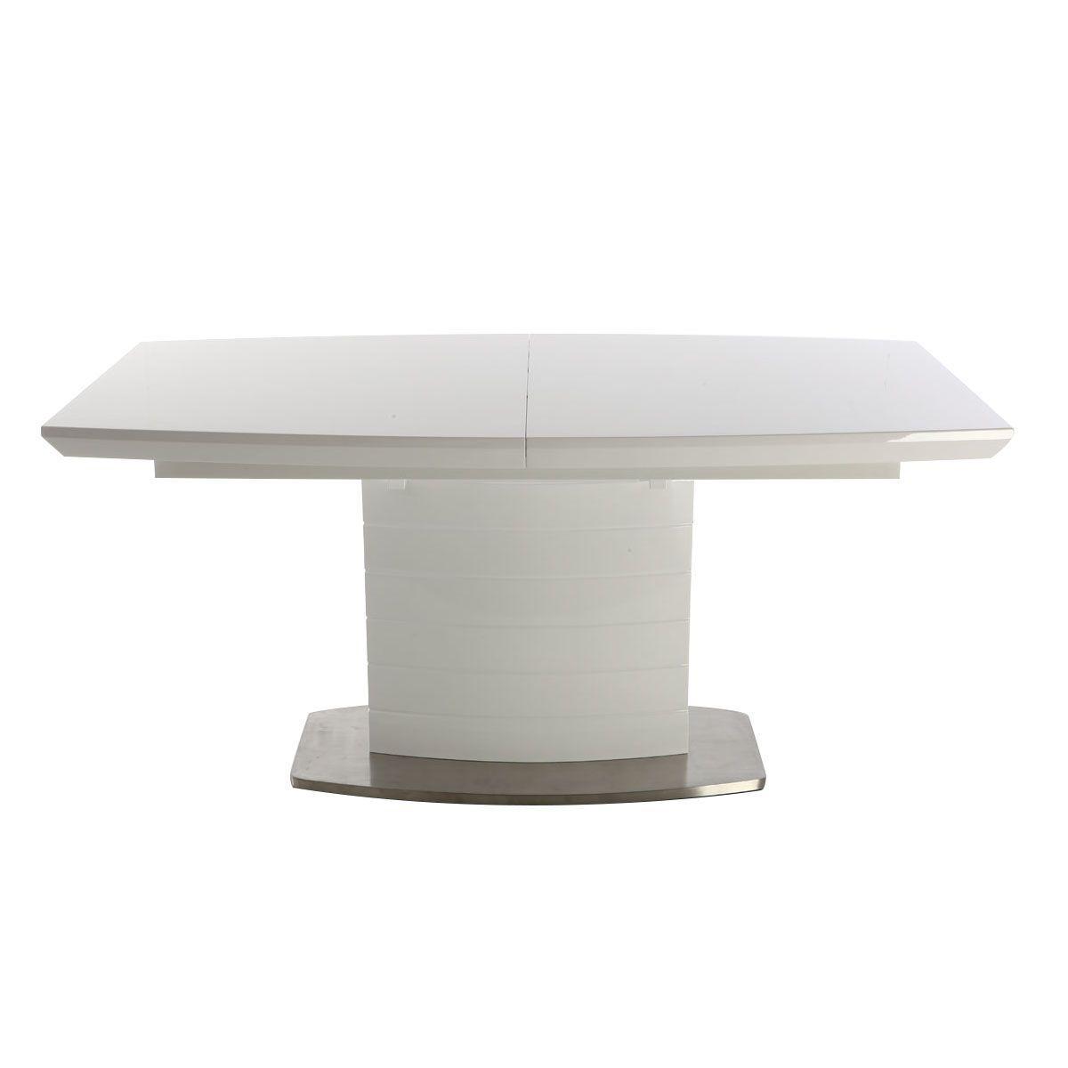 Mesa de comedor diseño extensible blanco brillante 160-200 eresos