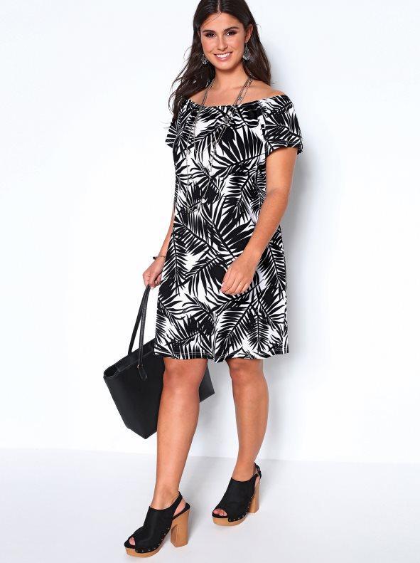0d22cac84 Vestido escote elástico tallas grandes estampado blanco negro xl. Bellísima