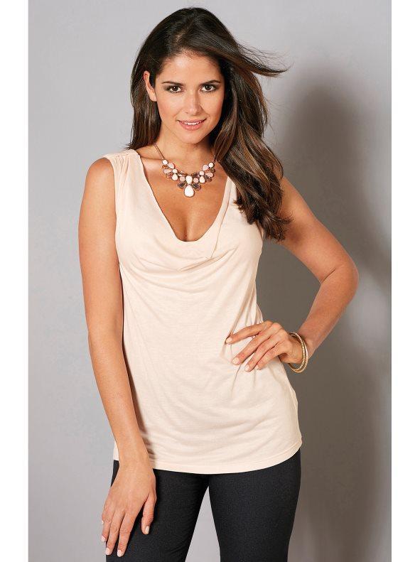 f4e0c171247 Camiseta fiesta con escote drapeado y encaje rosa nude xxl. Venca