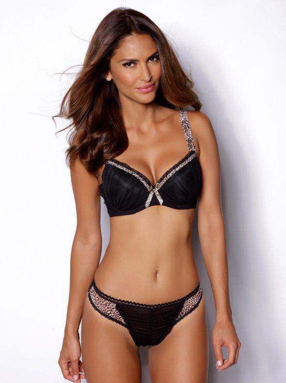 Conjunto lencería mujer sujetador y braga negro leopardo 75 2ac34dd78087