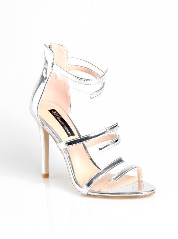 b7a4c98e31 Zapatos tacón de aguja con tiras símil piel metalizada plateado 35