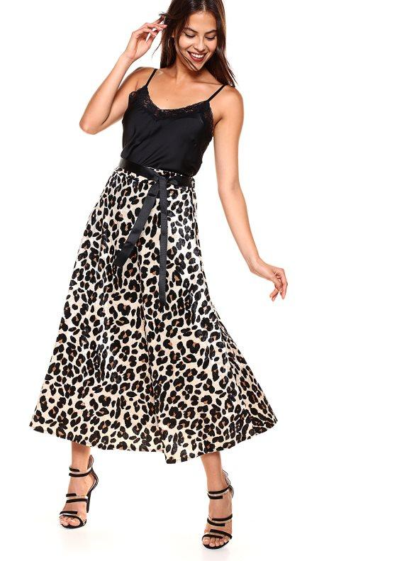 cfd0f0bd34 Falda larga tacto terciopelo leopardo estampado marrón
