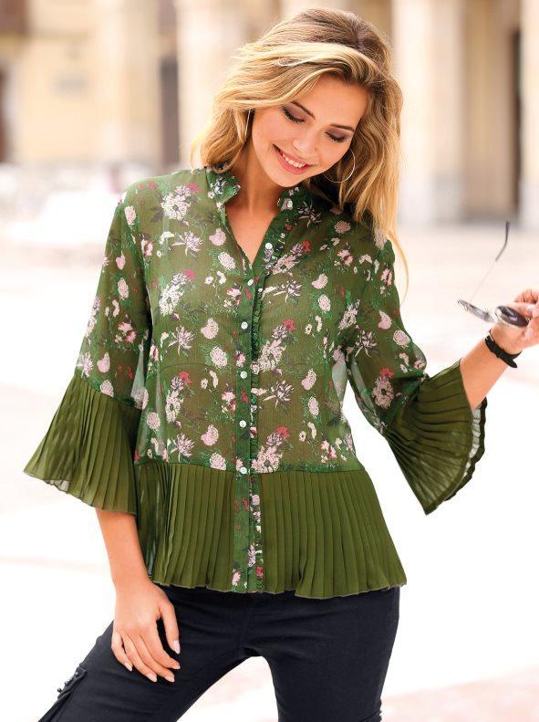 21c53f06b Camisa tejido plisado en puños y bajo estampado verde caqui oscuro s. Venca