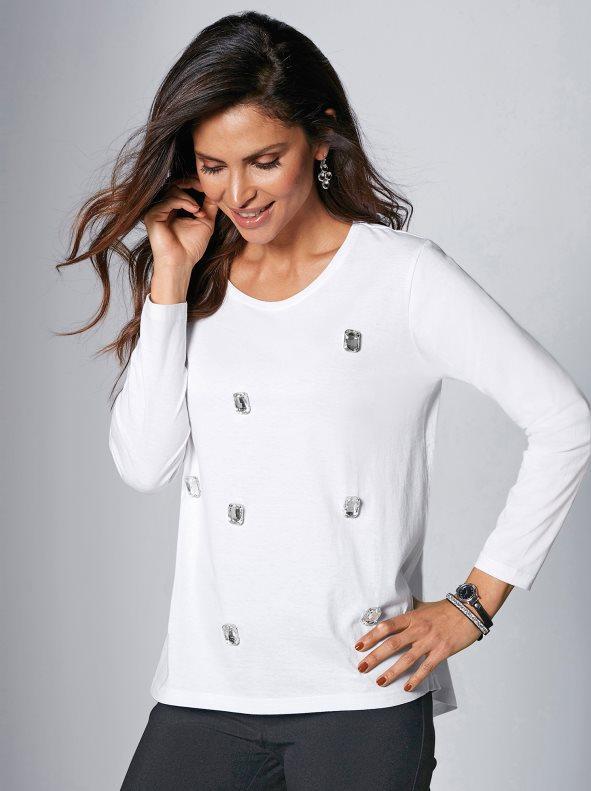f2248d95b23 Camiseta con pedrería y bajo asimétrico blanco l
