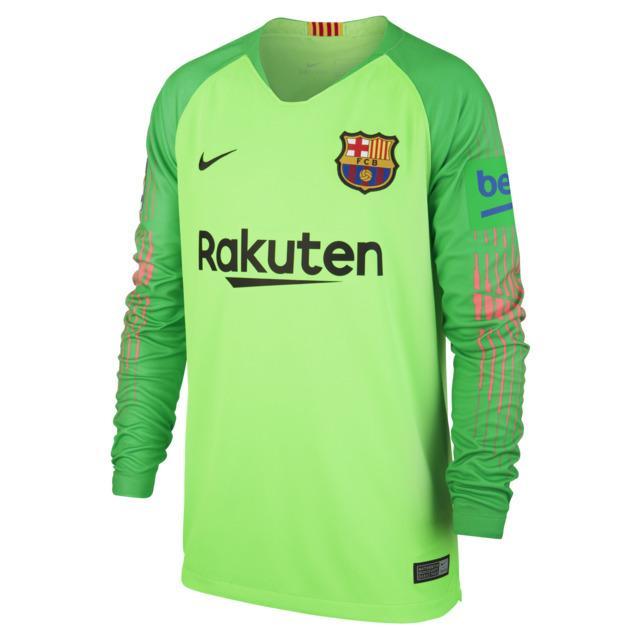 a5ce6c10a3 Camiseta de portero de niños fc barcelona 2018