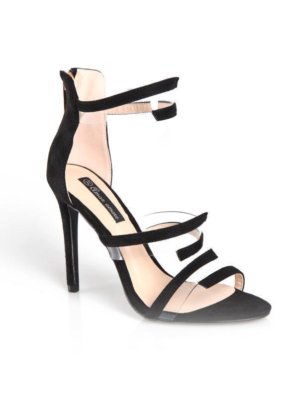 39d829c151 Zapatos tacón de aguja con correa y tiras antelina negro 35