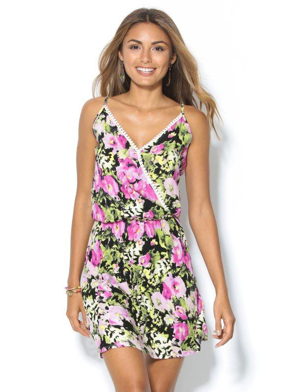 371869495d Vestido corto de tirantes flores con pasamanería estampado 40